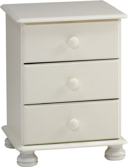 Richmond White - 3Drawer Bedside Cabinet